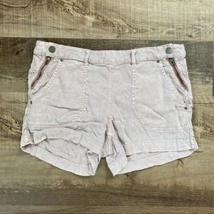 Free People Linen Blend Side Snap Shorts